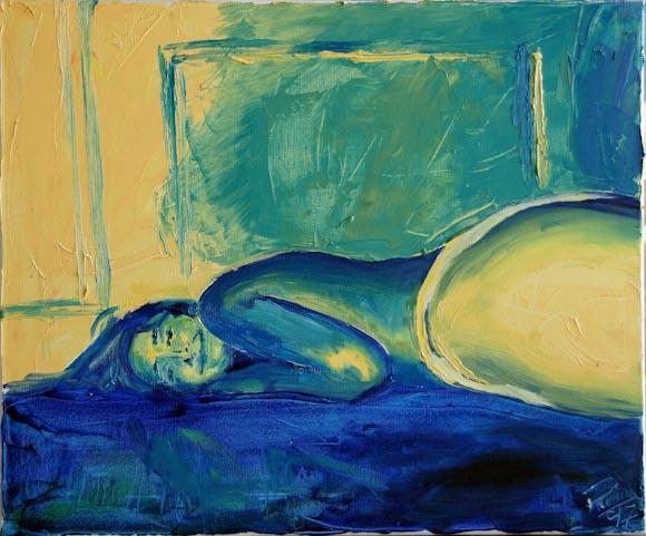 Marta tumbada sobre la moqueta (óleo sobre lienzo)