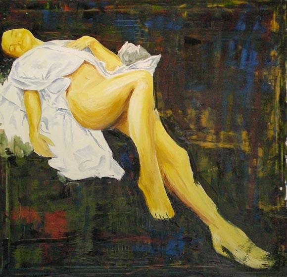 Marta con sábana (óleo sobre lienzo)